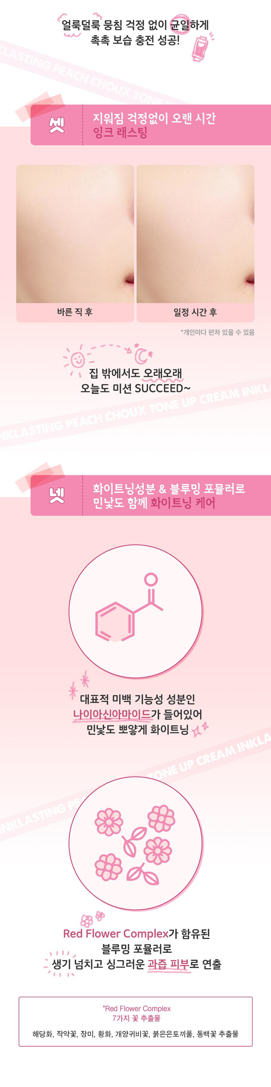 [ShiPAPA] Peripera   InkLasting Peach Choux Tone Up Cream  韓國直送🇰🇷   香港 澳門
